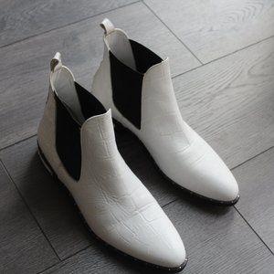 Freda Salvador Chelsea Ankle Boot- White Croc
